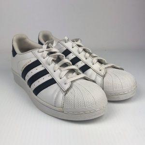 Adidas SUPERSTAR WHITE/BLACK/GOLD Sz - 6 . 5
